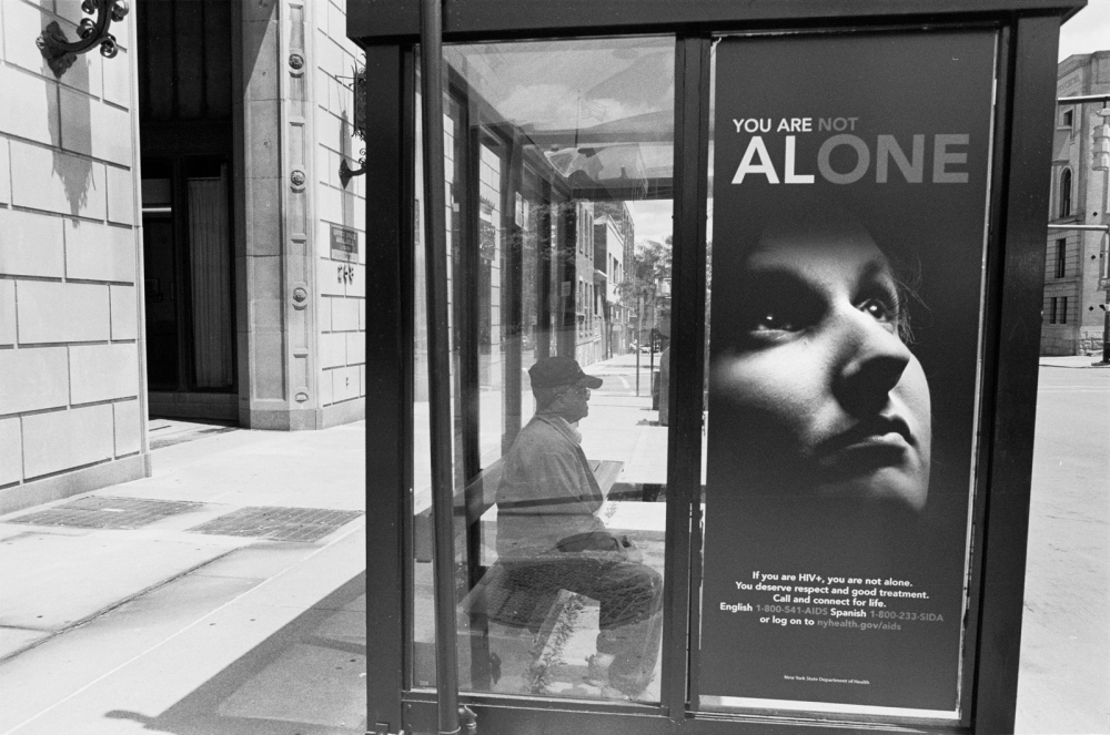 All Alone, bus stop, Utica, NY 2014