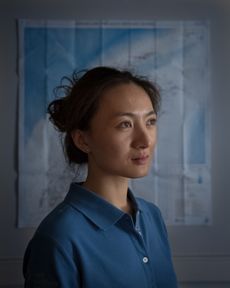 Jiayi Zhao, expedition guide and Mandarin interpreter, in a cabin aboard the m/v Ocean Diamond in Antarctica. As Chinese tourism in the Antarctica explodes, she left a career as an actress in Beijing to work on ships in the Polar Regions.