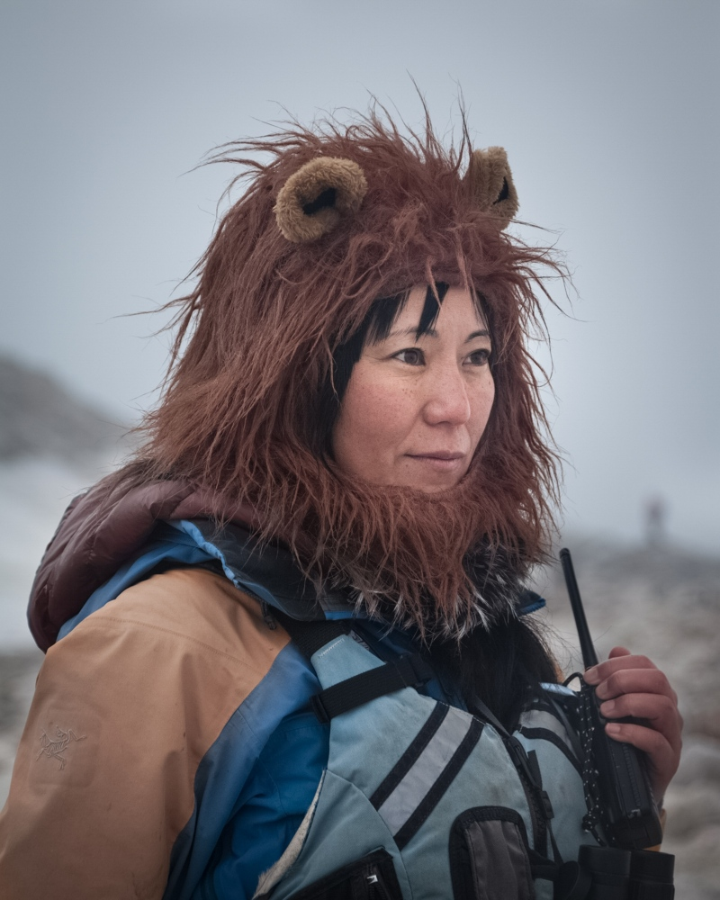 Yukie, expedition guide and logistics manager from Japan. Neko Harbour, Antarctica.