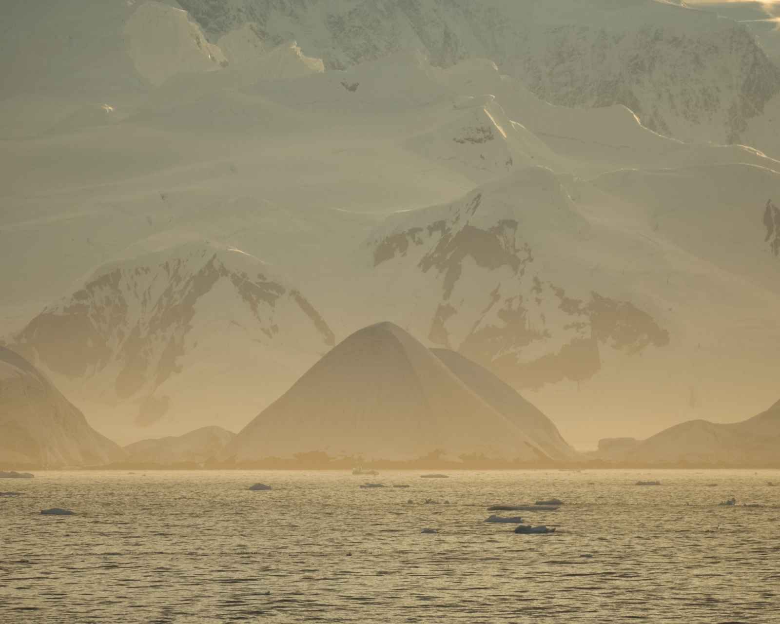 Sunrise in the Lemaire Channel, Antarctica.