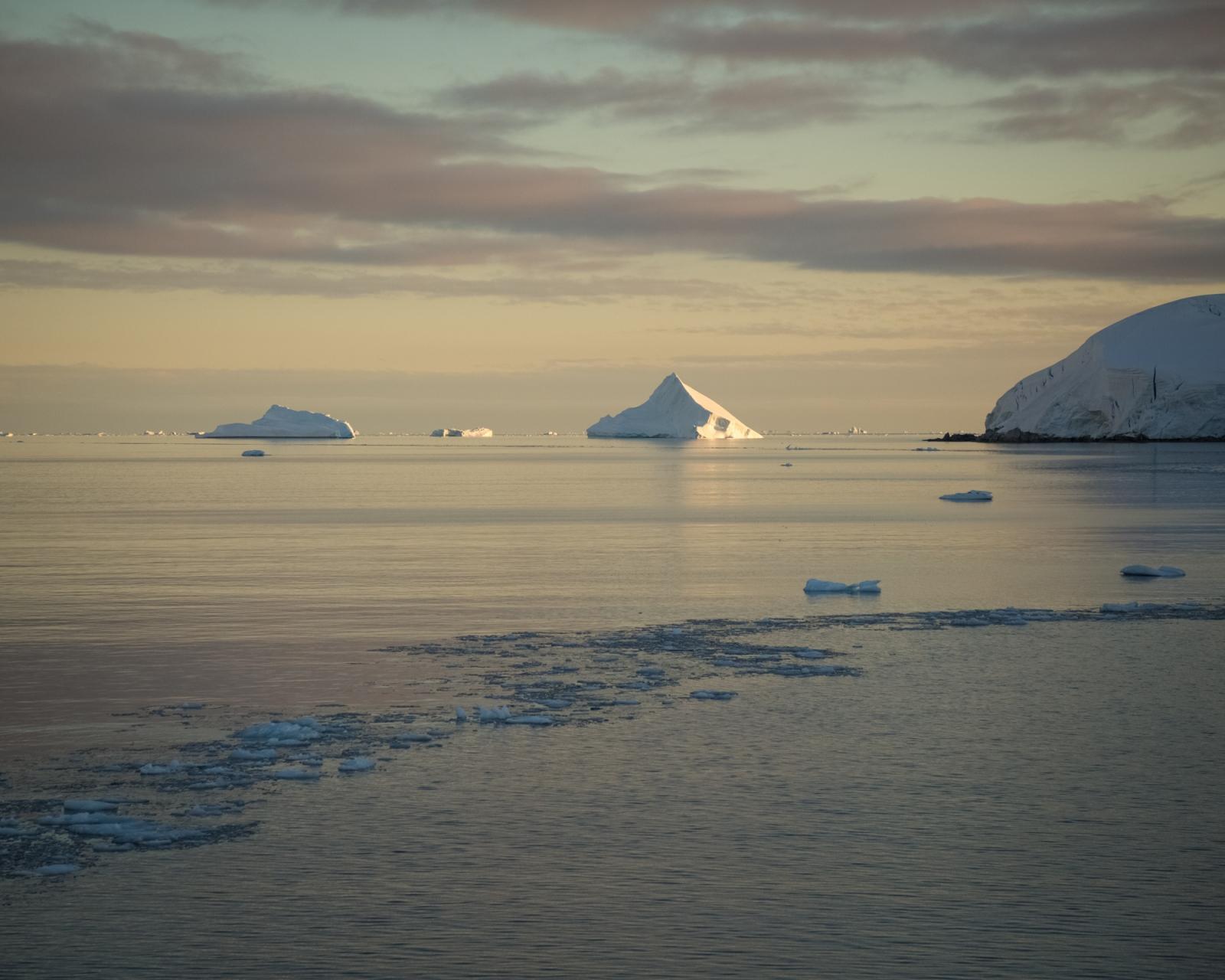 Sunrise in Graham Passage, Antarctica.