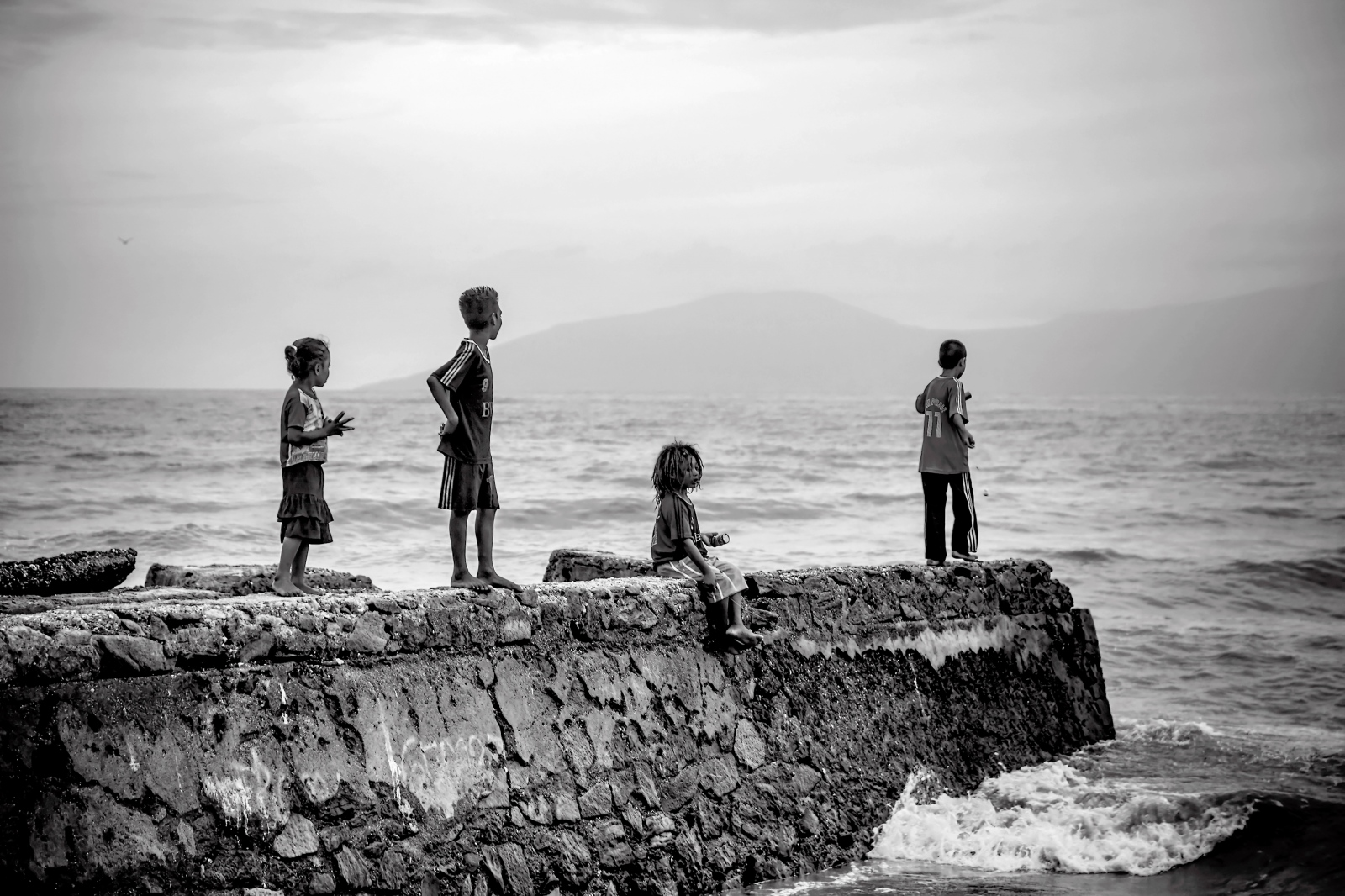 Street kids fish for supper in East Timor.