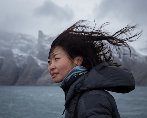 Alice Wang, polar expedition guide and Mandarin interpeter from Beijing. Sam Ford Fjord, Baffin Island, 2017.