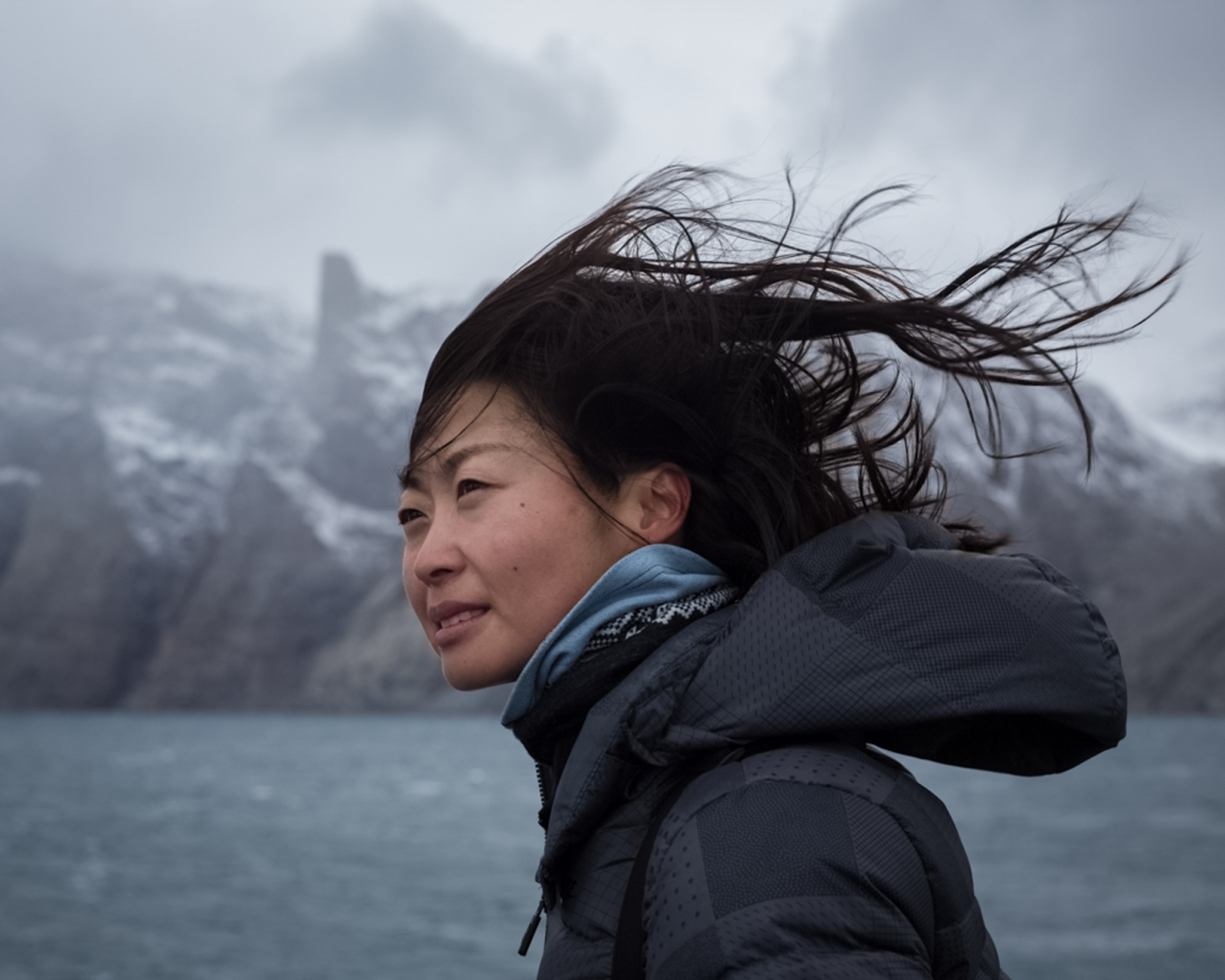 Alice Wang, polar expedition guide and Mandarin interpeter from Beijing.Sam Ford Fjord, Baffin Island, 2017.
