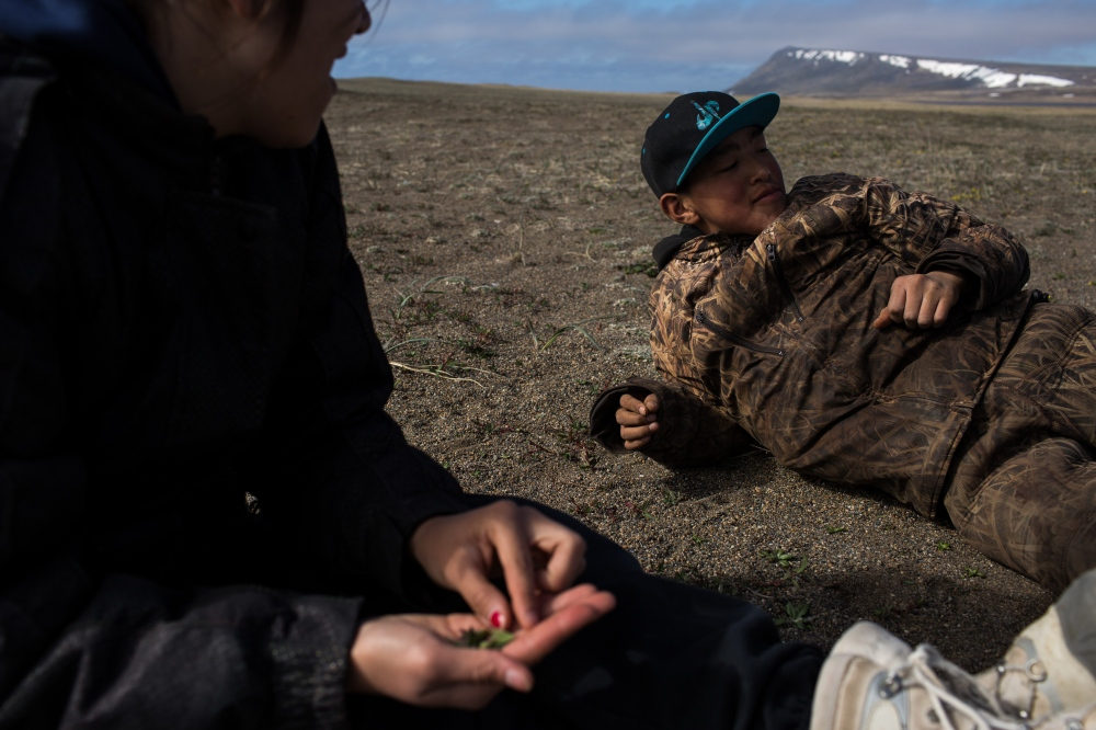 After a day with no seal sitings, Danielle and Chase Apassingok decide to head out to hunt pintails. On the way, they stop for a snack, a plant that in Yupik is called angukaq.