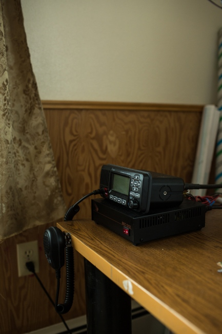 The CB radio in Mike Apatiki's home in Gambell, Alaska. Like most villages in rural Alaska, homes typically use the radios as a way of communication within the village with one another.