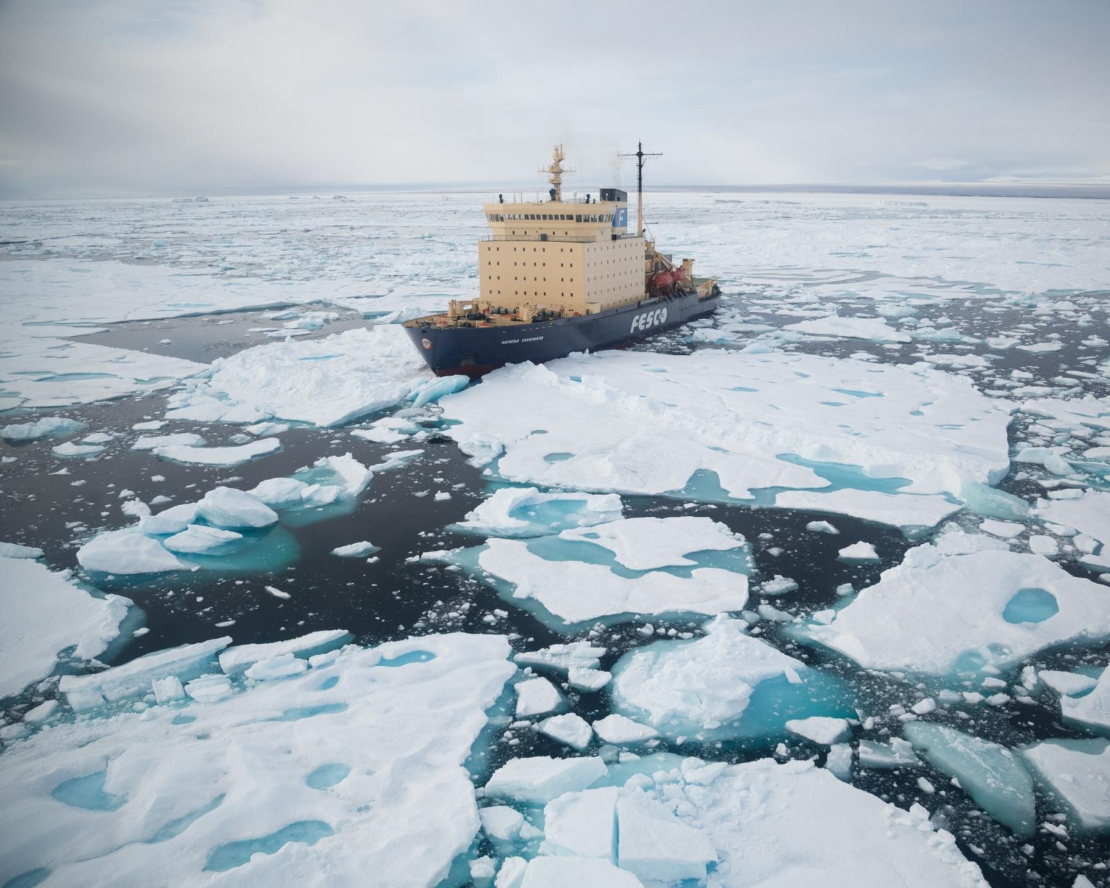 The Russian icebreaker Kapitan Khlebnikov, in the sea ice off northeast Greenland, 2016.