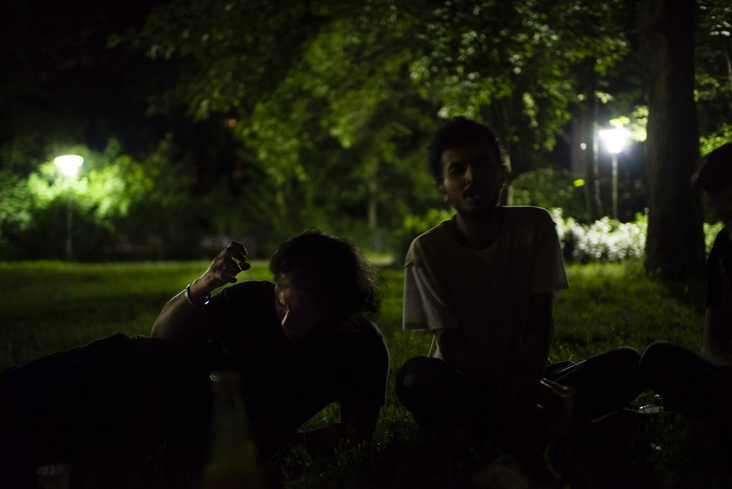BERLIN | GERMANY | 2016-06-04 | Mohammed and his Syrian friends, mainly musicians or activists who are now in exile as refugees in Germany, come together late at night, singing revolutionary songs at a park.