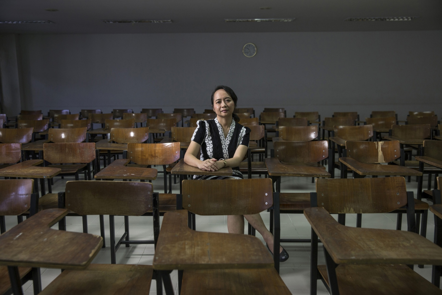 Chalita Bundhuwong, in one of her lecture rooms at Kasetsart University, where she is a professor of Social Science. She has been part of an effort to organize public discussions, lectures and lead campaigns to assist students in understanding the concept of human rights. She is also the Coordinator of the Academic Network for Civil Rights (TANC). Bangkok, Thailand