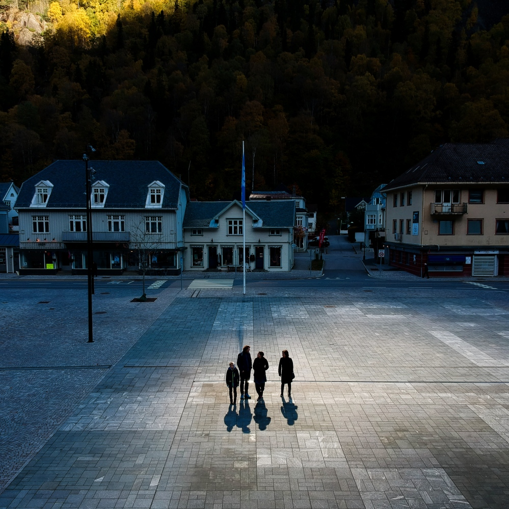 Rjukan, Norway, 2017. The effect of the sun mirrors in the main square.