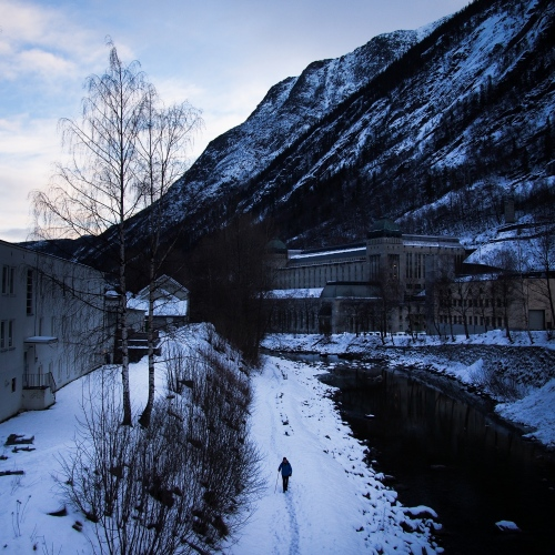 "Rjukan, Norway, 2015. On the right side, down the mountain, is located the Norsk Hydro power plant called ""The Opera"", that produces hydroelectric power."