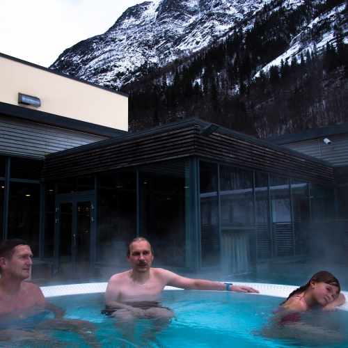 Rjukan, Norway, 2015. The thermal pool Rjukan Badet, situated in the centre of the village, where local people go to relax and meet each other.