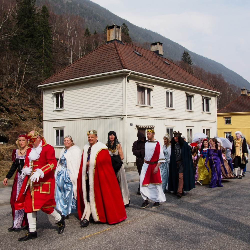 Rjukan, Norway, 2015. In April, Rjukan celebrate the Solfest, the return of sun from behind the mountain, with a costume parade.