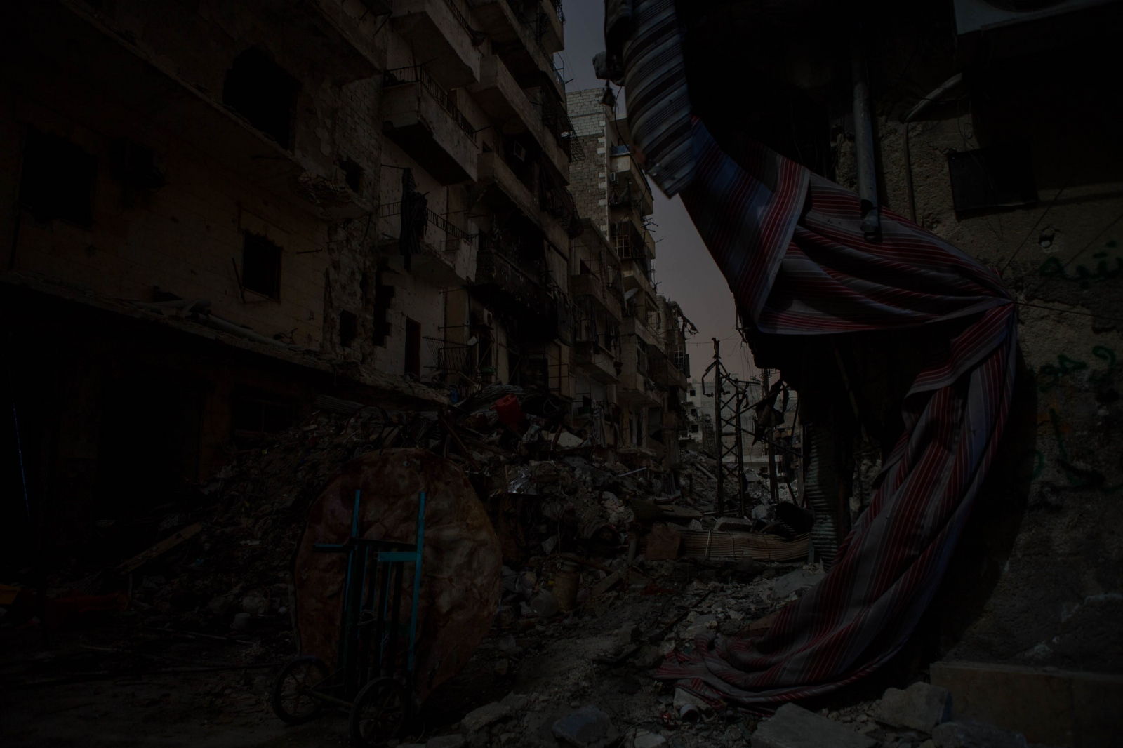 A view of a destroyed section of the Salaheddin neighborhood of Aleppo, Syria, on March 26, 2013.