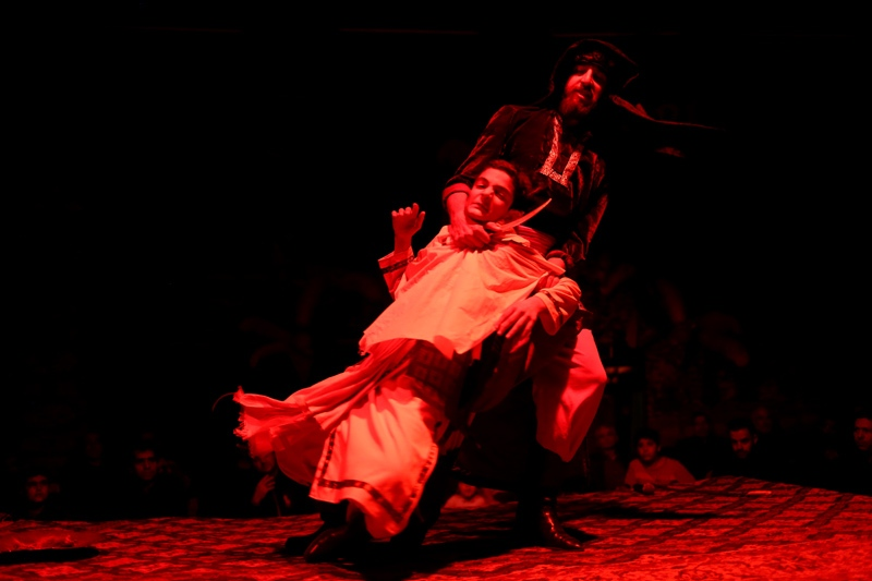 Performing Ta'ziyeh starts in Iran since the start of the month of Moharram and every day a religious theatre about the martyrdom of one of Imam Hossein (AS) friends is performed. A scene of martyrdom of Moslim's sons by Yazid forces. (Tehran)
