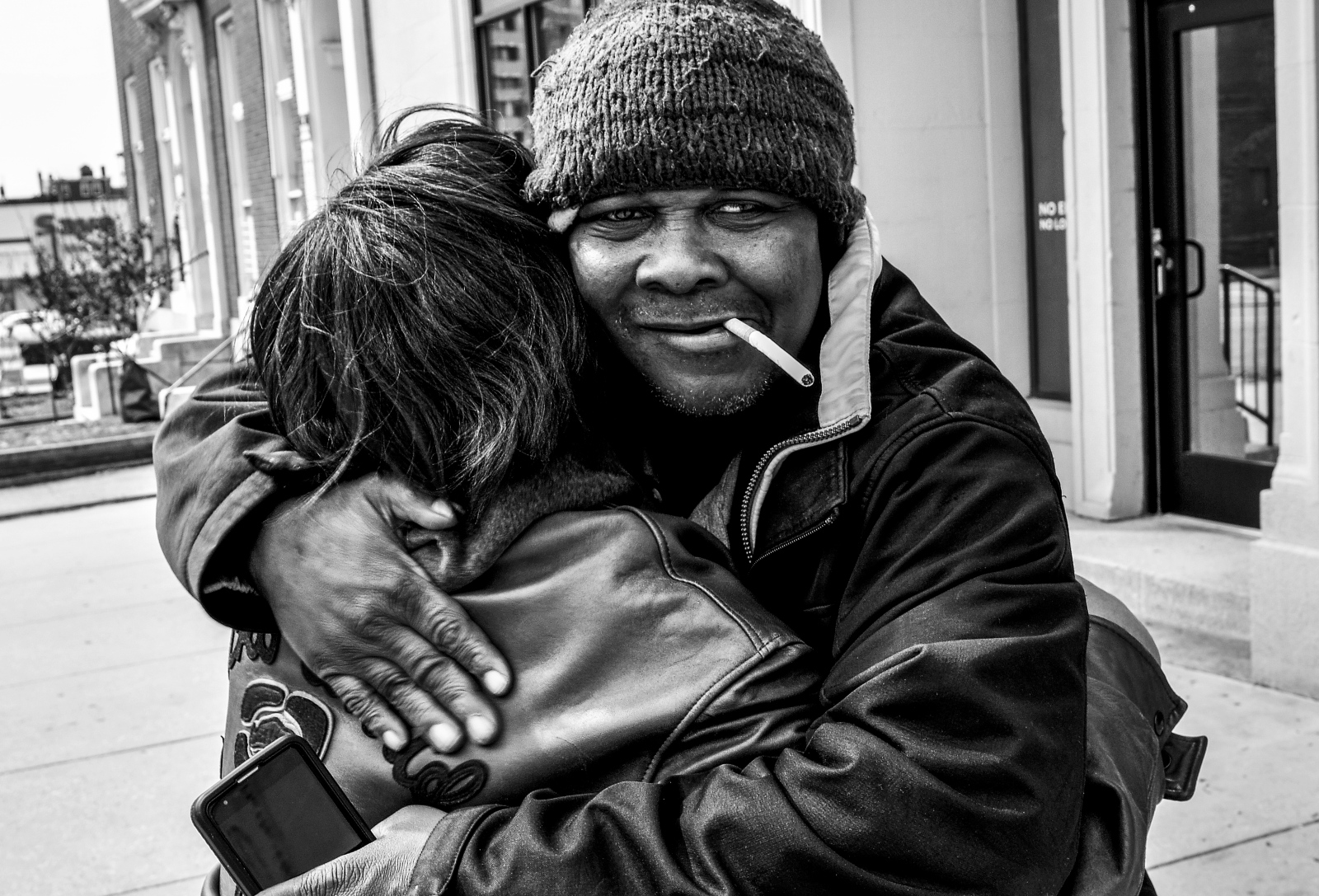 Wanda Sanders embraces her cousin Jessie, who is also  a recovering addict.