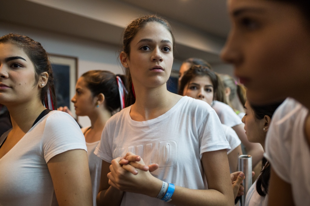 The Girls nervously wait the call to go on stage during a performing day. Empresas Polar, Los Cortijos, Caracas. November, 1rst, 2017.