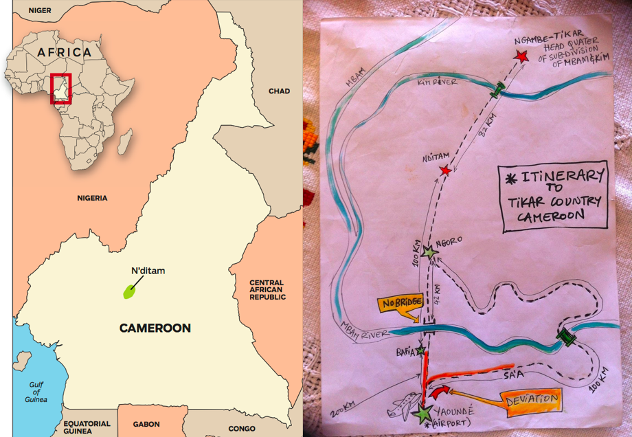 Left: location of Cameroon and the Radio Taboo site. Right: Depiction of the isolation of the project site.