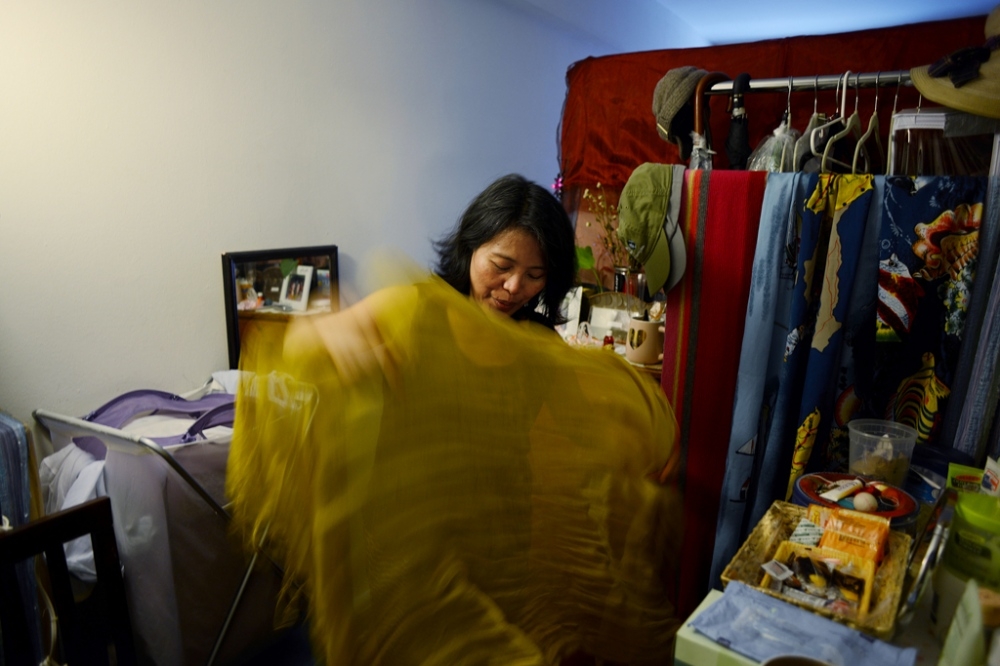 Edith Mendoza, 51, at the apartment she shares with three roommates in Queens, NY.