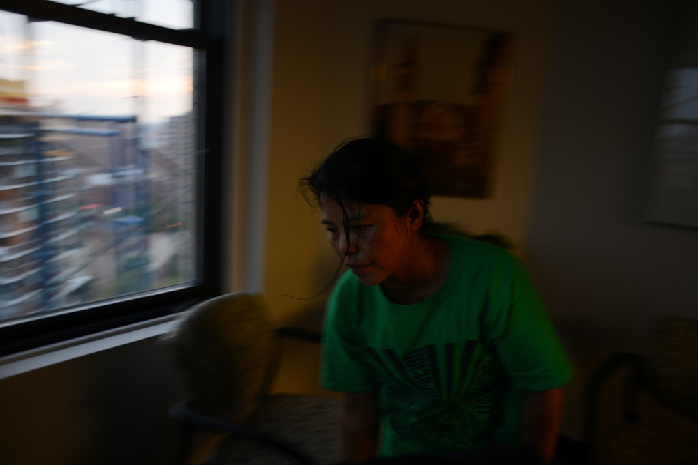 "Edith Mendoza, 51, at work cleaning offices in a Manhattan building. For organizers and legal aid workers, connecting with these workers, who are rarely aware of their rights, is a big challenge. ""People like Edith and Sherile are living in these mansions super isolated and there's no way for them to interact with the community and have access to resources,"" says Arora, who also started the Wage Justice Program in Westchester County. ""That was part of the problem when Edith was trying to seek medical care as well. It's extremely important for these cases to be brought to light and create accountability because right now so much happens undercover in private households without anybody knowing."""