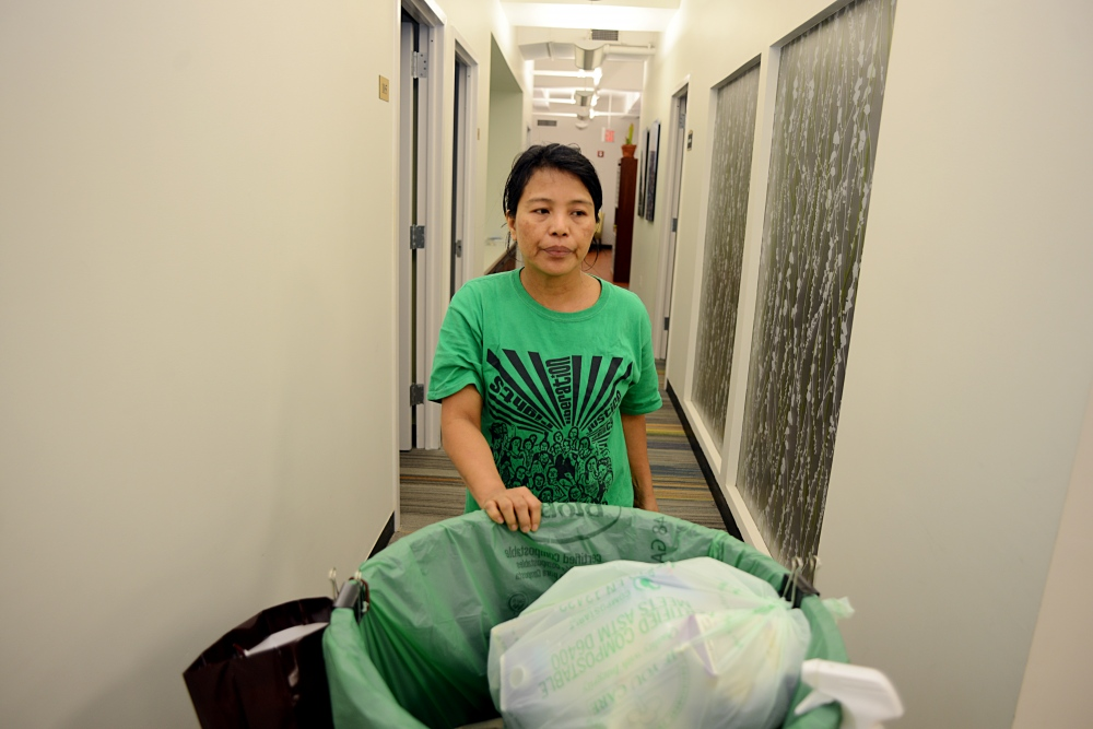 "Edith Mendoza, 51, at work cleaning offices in a Manhattan building. The State Department in its 2017 Trafficking in Persons report found ""that some foreign mission personnel evade current protection measures for foreign domestic workers"" and noted a call ""for increased efforts to prosecute domestic servitude cases involving diplomats when possible, the inclusion of all domestic workers in federal labor and employment law protections, and strengthened protections under state laws."""