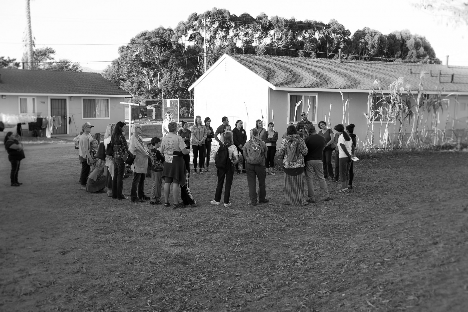 Dr. Ann Lopez speaks to a group of volunteers attending a Farm Worker Reality Tour. The tours are organized by the Center For Farmworker Families a nonprofit organization with the purpose of promoting awareness of the difficulties that farm workers face. Buena Vista Migrant Camp, October 27th, 2017 Watsonville CA.