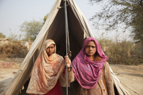 A mother and daughter, recently rescued by the NGO, temparerily sleep in a tent until they have time and money to built a solid house. Following the release of the Global Slavery Index by the Walk Free Foundation Pakistan is ranked 3rd worse in the world behind India and China.  Sindh, Pakistan