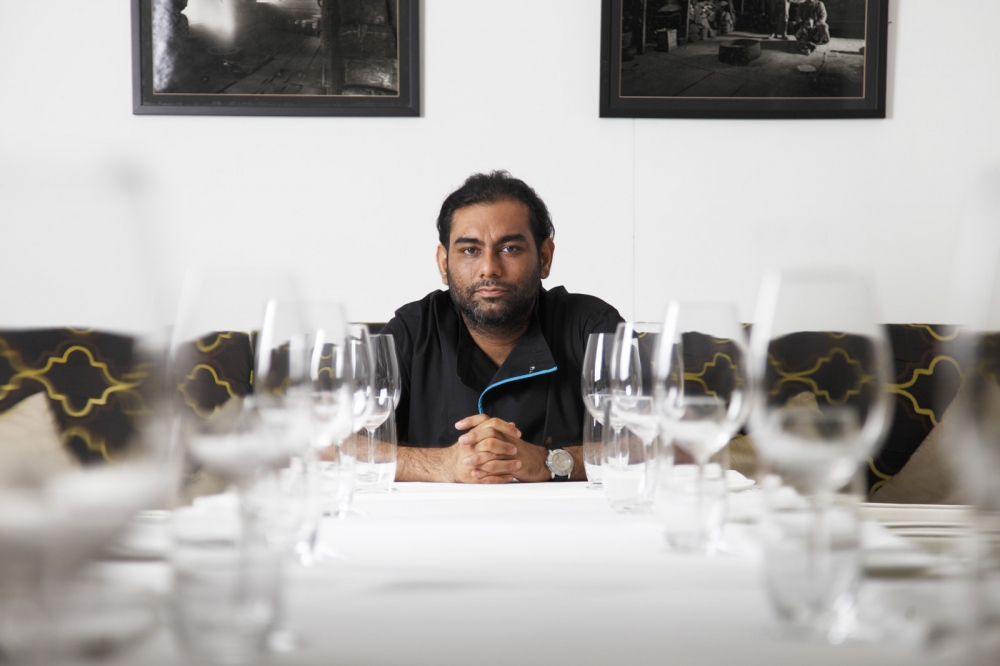 Multi award-winning chef Gaggan Anand, originally from Calcutta, in his restaurant Gaggan which specialises in progressive Indian cuisine.  Bangkok, Thailand
