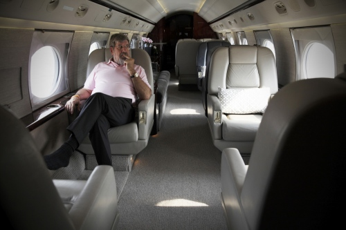 American businessman Bill Heinecke on one of his private jets at Don Mueng airport.  Bangkok, Thailand