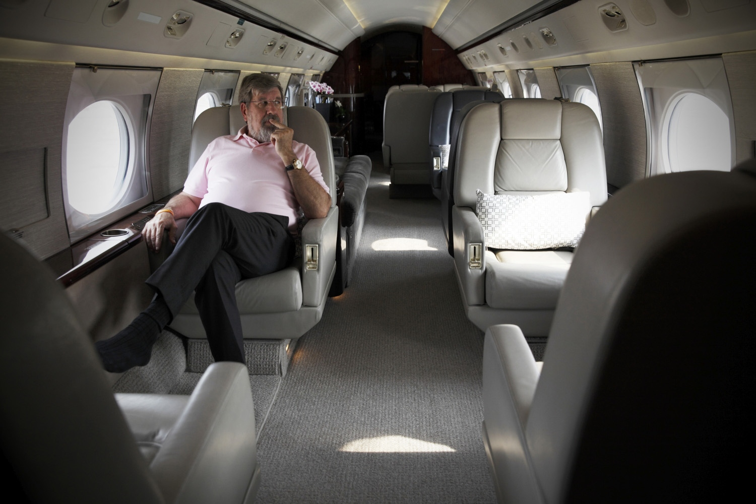 American businessmanBill Heinecke on one of his private jets at Don Mueng airport.  Bangkok, Thailand