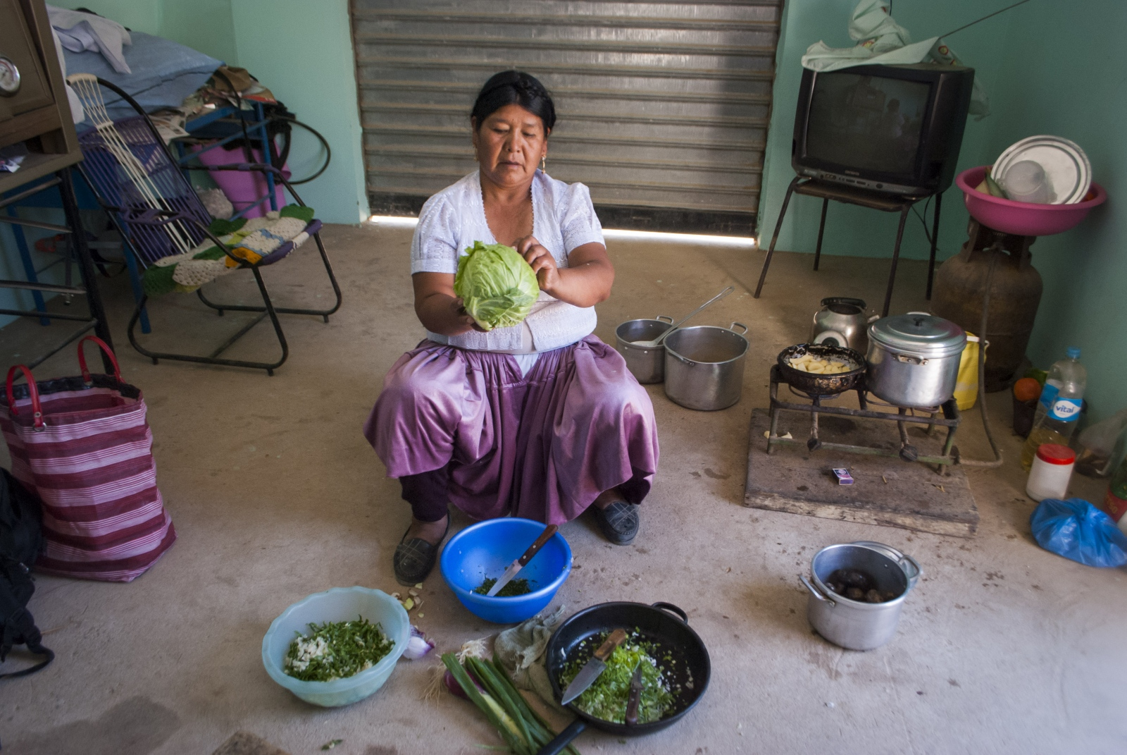 Isabel doesn't have space on her land to maintain a garden, so she uses community owned land across the street to grow and harvest vegetables to cook at home. She says that she saves money and eats fresher and more delicious vegetables. Sivingani, Cochabamba, Bolivia, 2014.