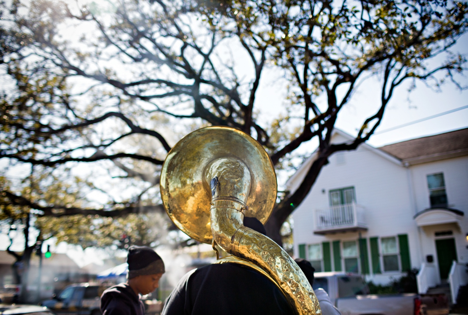 A tuba player member of Hot Eight Brass Band gets ready to start the Second Line parade with the New Generation Social and Pleasure Club.