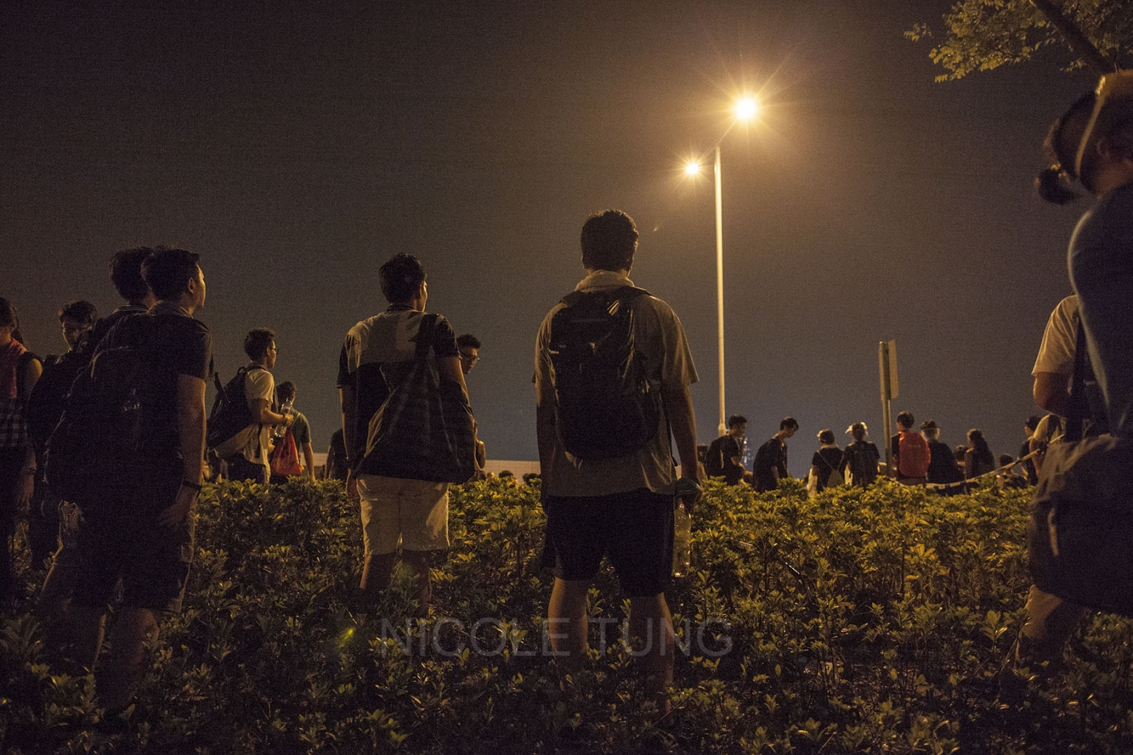 Protestors gather near Lung Wo Road, outside government offices, where several of the demonstrators caused a commotion by attempting to occupy another section of the road, which would have completely halted all traffic and disrupted a main artery connecting east and west Hong Kong, October 3, 2014.