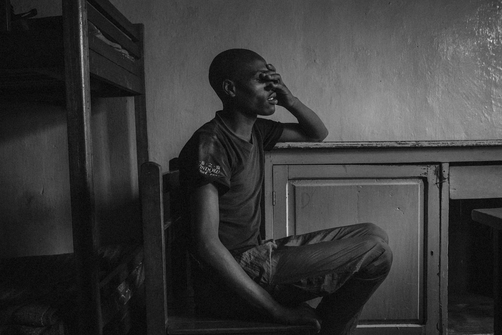 Felix, a former child soldier, at the BVES transit center in Bukavu, Eastern DRC, on Friday, July 25, 2014.