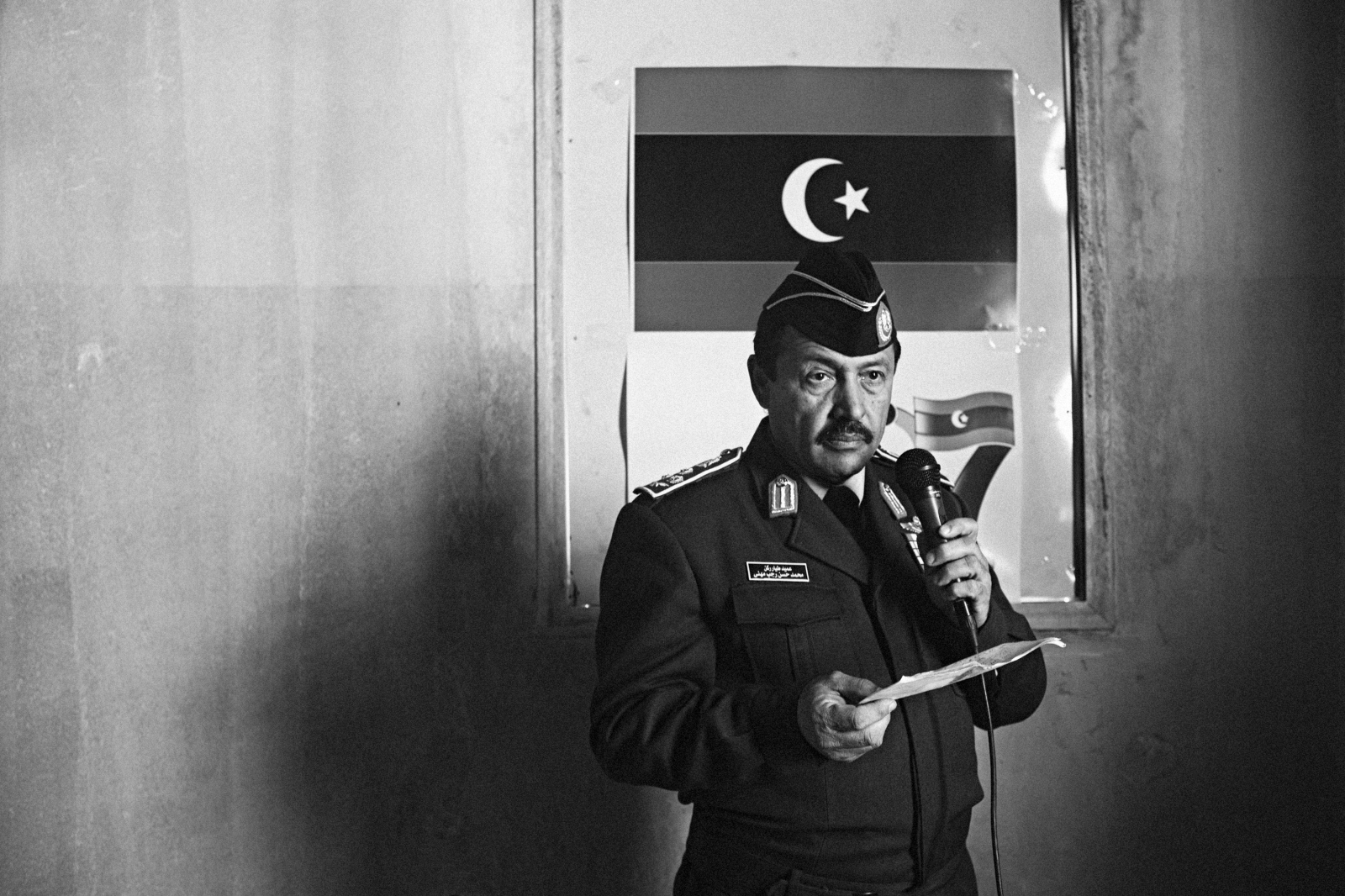 A fighter pilot turned revolutionary, Mohamed Mufta Dineiri, makes a statement for Libyan television in which he renounced the regime and confirmed his solidarity with the opposition on February 26, 2011 in Benghazi, Libya.