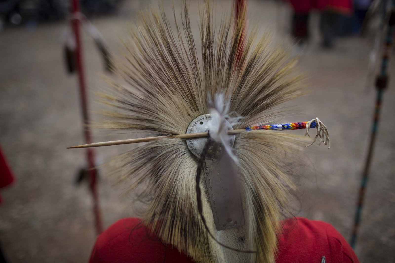 A detail of the head regalia worn by the Black Leggings members during the second day of the ceremony remembering the Kiowa veterans.