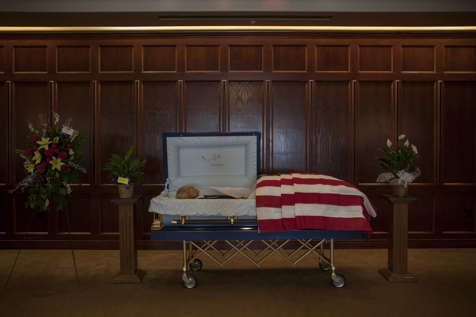 Edmond A. Harjo, a Seminole Code Talker who served in Europe during World War II as a Private First Class, is seen in his casket before a wake service on Thursday, April 3, 2014 at the Swearingen Funeral Home in Seminole, Oklahoma. Mr. Harjo returned to the US after active duty in 1944 and remained in Maud, a nearby town, until his death at 96 on Monday, March 31, 2014.