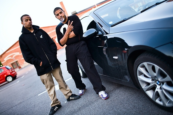 Many of the immigrant youth from Malmo connect with the California youth hip-hop gangster culture. A half-American, half-Swedish youth (left) from Oakland, CA, who's father is from California.