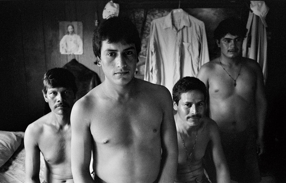 Four migrant workers live in a crowded trailer outside Raleigh. NC. 08.97
