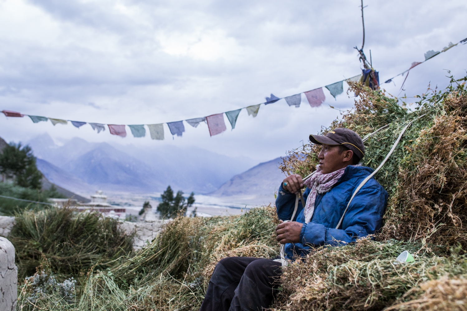 Tashi Stobdan rests on the roof of his home after carrying load after load of livestock fodder for storage.