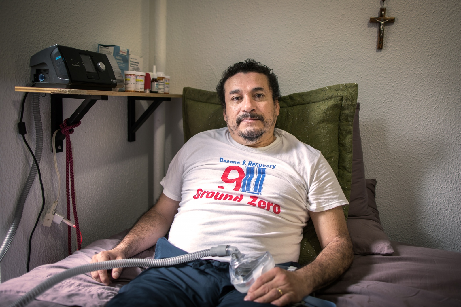 "Jose Sanchez, 54, Ecuadorean. He worked for 10 months at the WTC site with his brother, who died of a tumor in 2008. ""Despite the death of my brother and my illness I do not feel rancor. I am very grateful to this country that gave me the chance to work. Thanks to that I was able to give a better life to my daughters. I just wish we could fix our legal situation."""