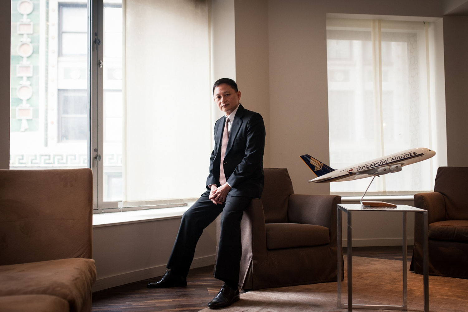 Singapore Airlines Chief Executive Officer Goh Choon Phong at the Andaz Hotel in New York City on Tuesday, Dec. 6, 2016. Photographed for Bloomberg