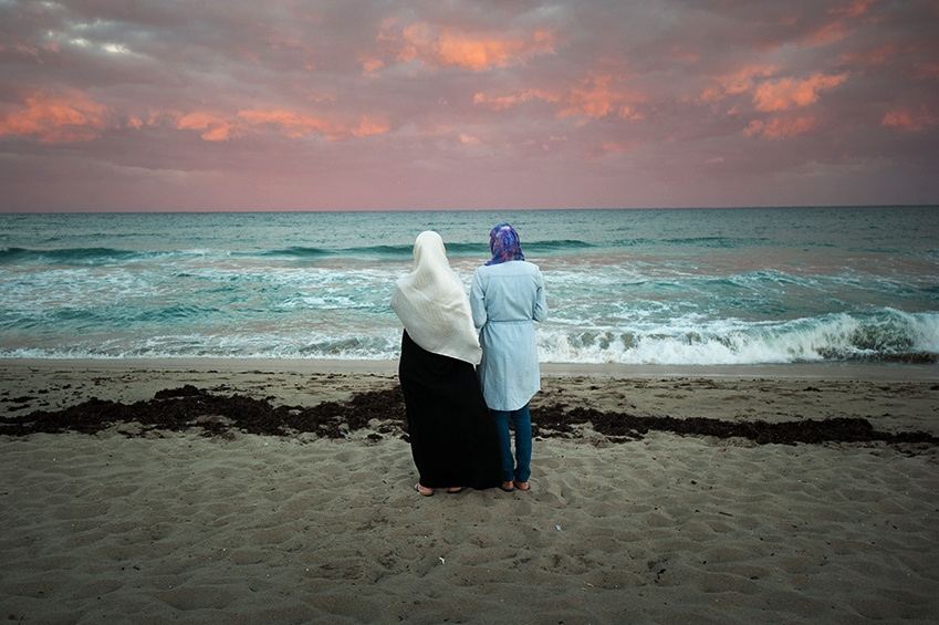 Ghada (left) and Tasneem on a beach in Florida. The women are originally from Gaza.