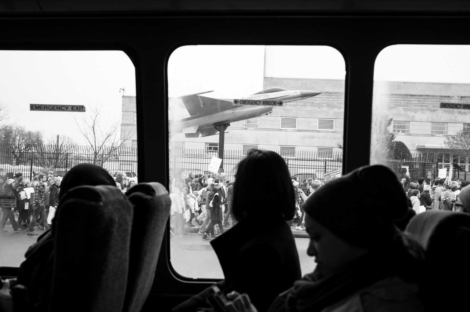 A bus of activists, many of whom are Arab American, ride a bus from New York City to Washington D.C. for the Women's March Jan. 21, 2017.