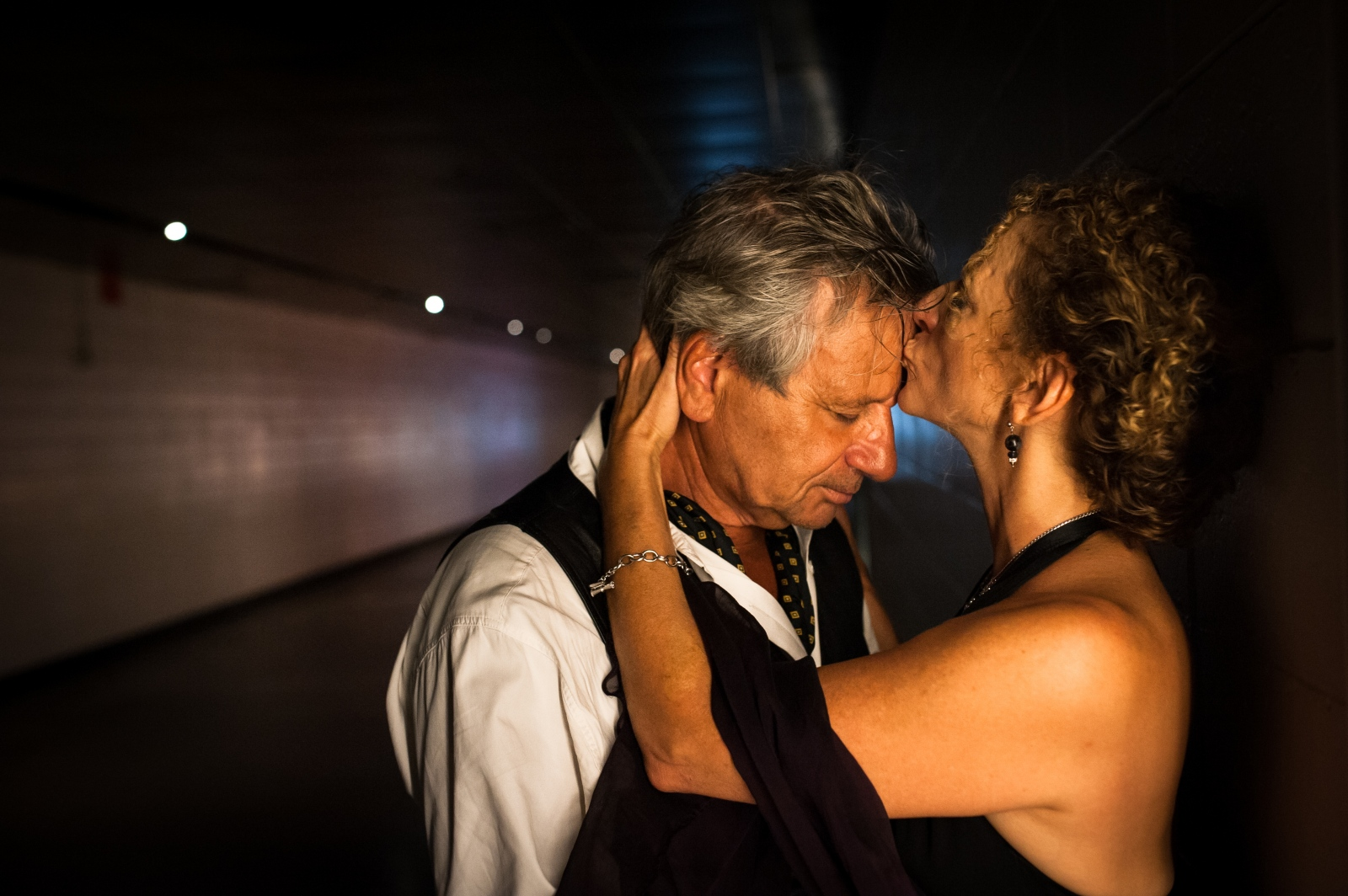 Suki John and Horacio Cocchi in a tunnel beneath Lincoln Center in New York City. The couple, who met at a cafe on the Upper West Side, were featured in The New York Times Vows section 20 years ago.Photographedfor The New York Times