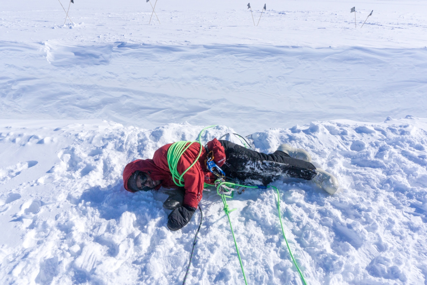Practicing crevasse rescue on the Ross Ice Shelf Dr. Brian Atkinson gets saved by his teammates. 26 November 2017.