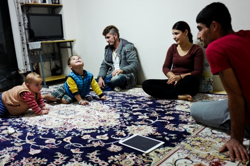 Japan, Tokyo, Warabi, 2017. From the left: Ayas, 2, Huseyin, 3, Mazlum, 24, his sister Suzan, 19 and her husband. Mazlum lives with his family in Warabi. He moved here 10 years ago, and he works in a demolition company. He tried to apply for the refugee status nine times, but he was always denied. Now, he is under Kariome, a sort of temporary permit issued by government, during which Mazlum is put under control, he can't leave his own district, he can't work legally and most of all, he could be forced to leave the country in every moment.