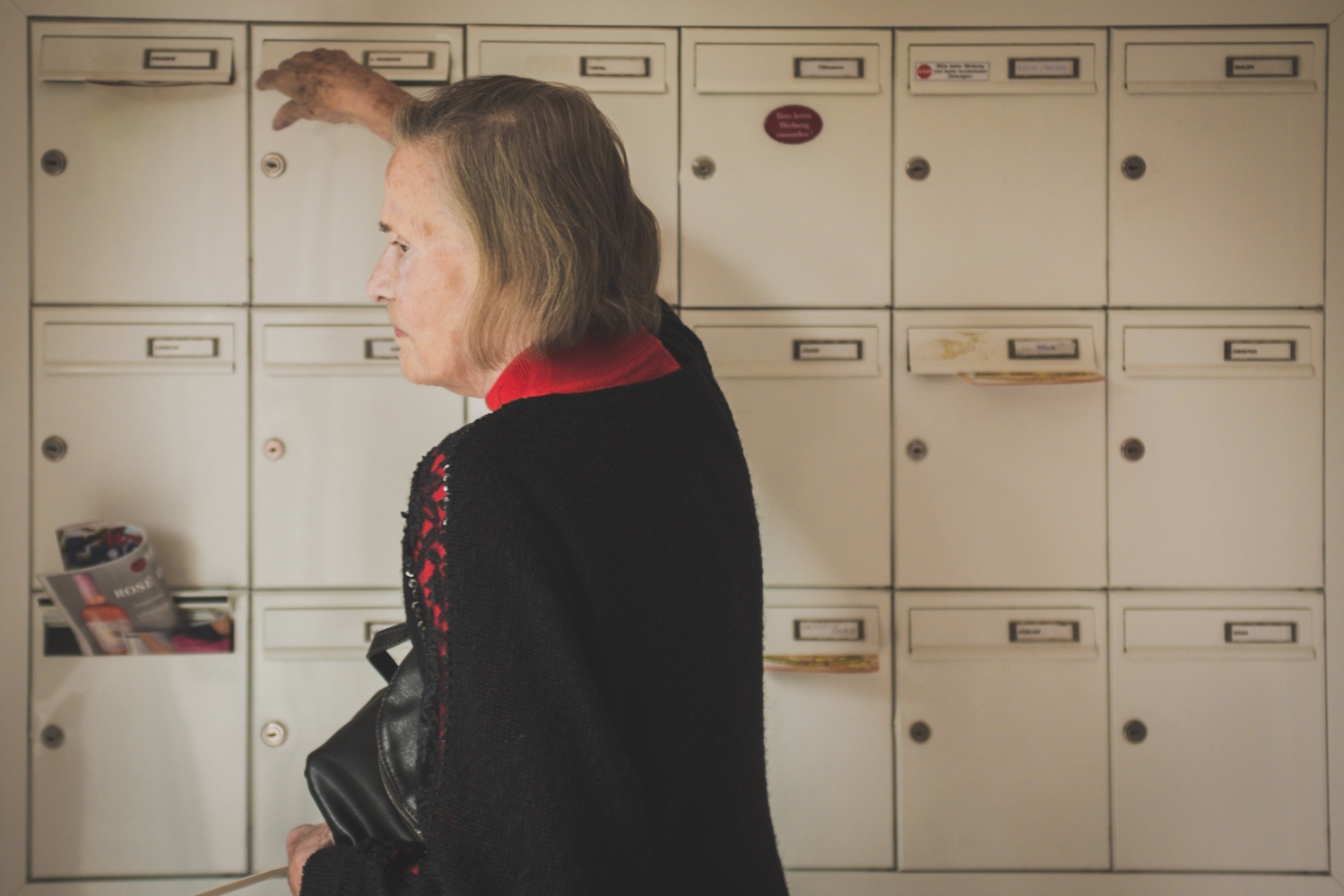 Helga checks her letterbox one last time before moving to the retirement home. Neuss, GERMANY, May 29, 2015.