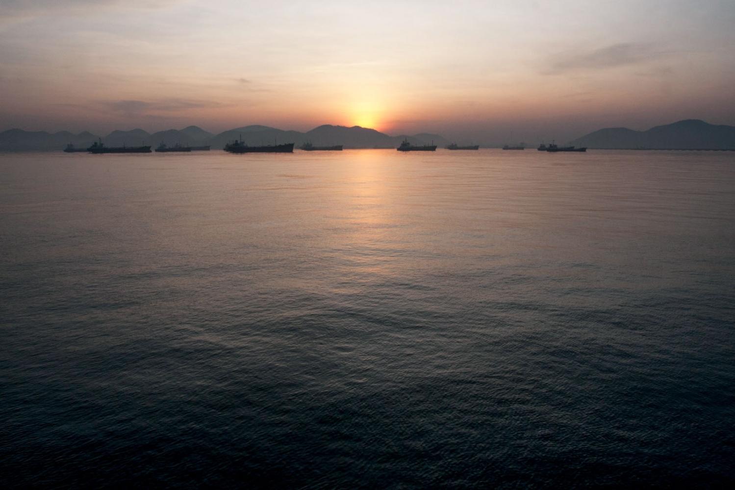 The Gulf of Thailand at dawn off the coast of Chonburi Province. Chonburi, Thailand