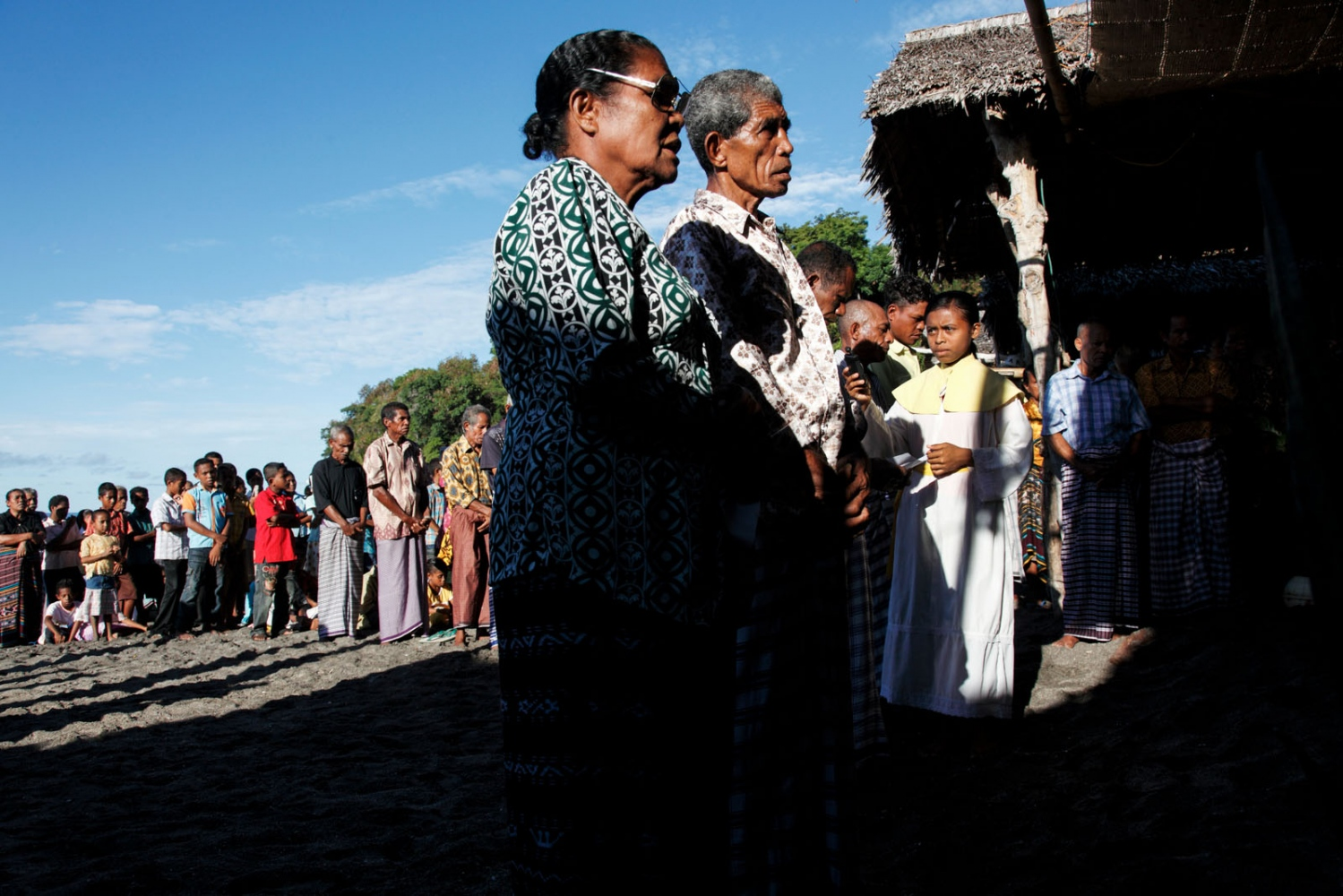 The fishing community of a remote Indonesian Island perform theceremony of'Misa Lefa'. A ceremony held once a year to bless the sea, the fishing boats and bring luck to the upcoming season. To the fishermen, devoted catholics, this is the most important day of the year.' It is small traditional fishing communities such as this that are effected by over-fishing due to large trawlers. Lembata Island, Indonesia